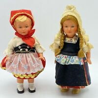 "Vintage 6.5"" Lot Of 2 Trachten Puppen Costume Celluloid Dolls Germany"