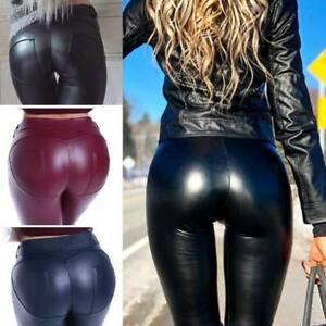 Women's Push Up Yoga PU Leggings Faux Leather Slim Shiny Skinny Pants Trousers