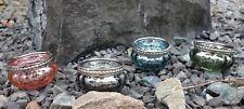Teelichthalter 4er Set glänzend bunt Gläser Teelicht Kerzenständer Glas Deko
