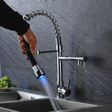 Chrome LED Kitchen Sink Faucet Swivel Pull Down Spray Mixer Tap Deck Mounted