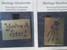 PAULA HALLINAN solid brass embossing stencil template -lot 2 u r a star & ribbon