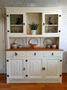 Stunning Welsh Kitchen Dresser Sideboard Cupboard Cabinet Shabby Chic White Tie