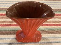 "FRANKOMA ART POTTERY, 10"" FLUTED FAN VASE, Rare Flame Glaze, Excellent Condition"