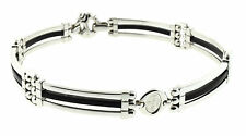 Baraka Black Rubber and 18K White Gold Choker New