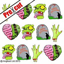 PRE-CUT HALLOWEEN SCARY ZOMBIE EDIBLE WAFER PAPER CUP CAKE TOPPERS DECORATIONS