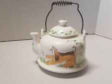 VTG Small Afghan Hound Dog Painted Metal Coil Handle Tea Pot