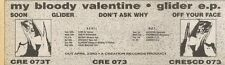 21/4/90Pgn57 Advert: My Bloody Valentine Glider Ep On Creation Records 3x11