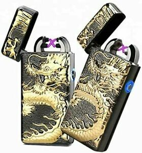 Electric Lighter Double Arc USB Rechargeable Flameless Windproof with Gift Box