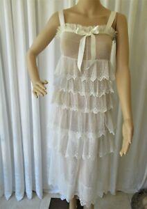 ANTIQUE 1930's EMBROIDERED FRENCH NET LACE W/ RUFFLES DRESS....P  XS  TEENAGER