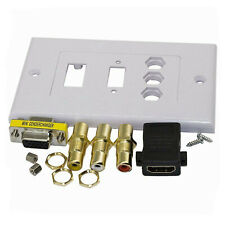 HDMI VGA 3 RCA AV Wall Plate Composite Video Audio Adapter Outlet HDTV 1080p ABS
