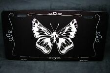 BUTTERFLY  BLACK BRUSHED METAL NOVELTY LICENSE PLATE TAG FOR CARS