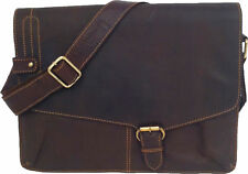 "UNICORN Real Leather Brown 13.9"" laptop, Netbook or A4 Notepad bag Messenger #2M"
