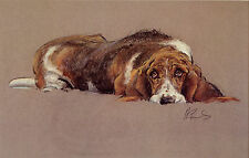 BASSET HOUND DOG FINE ART LIMITED EDITION PRINT - by Malcolm Coward