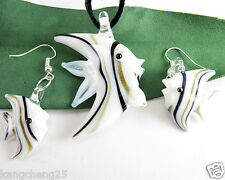 White Tropical Fish Lampwork Art Glass Pendants Necklace Earrings set Sale