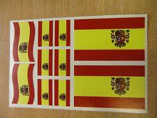 SPANISH FLAG STICKERS SHEET SIZE 21cm x 14cm - SPAIN DECALS