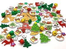 100 x Christmas Buttons Embellishments Bells Mix Craft Cardmaking Scrapbooking