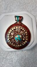 Handmade Brass Pendant with inlaid Coral & Turquoise, Nepal