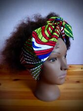African hair scarf, blue/green headband, abstract bandana, Afro hair wrap/tie up