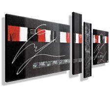 Bild HANDGEMALT Gemälde Kunst modern Leinwand  Abstrakt Bilder Unikat Grau Rot