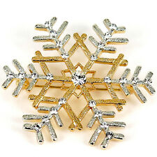 RUCINNI Snowflake Brooch, Gold/Silver plated and Swarovski Crystals