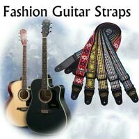 Flowers Guitar Strap Adjustable Nylon Webbing Belt For Electric Acoustic Ba X6E3