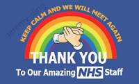 10% Donation Thank You NHS Key Workers Rainbow Flag Banner Doctor Nurse 5ft 3ft