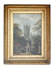 """Antique Painting """"In The Baptistery Jadin, Canterbury Cathedral"""", Signed"""