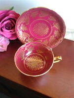 Paragon Tea Cup and Saucer Red Gold filigree gold foot, for the Queen DW