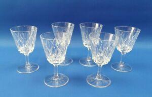 6 x Vintage Hexagonal Stem Sherry / Port / Liquer Glasses