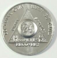 Lot of 10 Pc Alcoholics Anonymous 24 Hour Aluminum Coin Token Chip AA Silver # 3