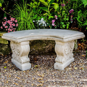 Stone Cast Curved Garden Bench Seat Heavy And Solid by DGS UK 90KGS