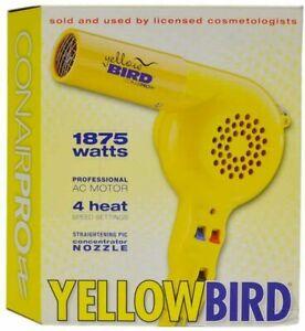 Conair Pro YB075W Yellow Bird Hair Dryer 1875 Watts 4 Heat Setting NEW