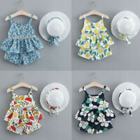 Toddler Baby Kids Girls Floral Fruit Strap Top Shorts Outfits Cap Hat Casual Set