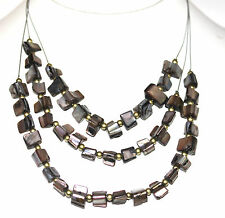 Mother of Pearl Grey Black Sea Shell Ocean Triple Layer Wire Beaded Necklace