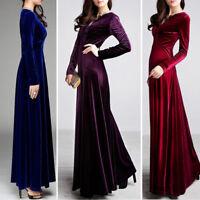 Women V Neck Prom Slim Fit Long Sleeve Velvet Formal Party Evening Maxi Dresses