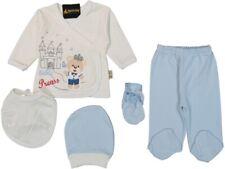NEU 5-tlg Set Jungen Baby Shirt Little King Teddy Hellblau Schloss 0-3 Monate
