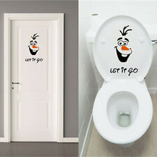 Olaf Frozen Disney style Let it Go Toilet Seat Wall Sticker Vinyl Decal Funny Ly