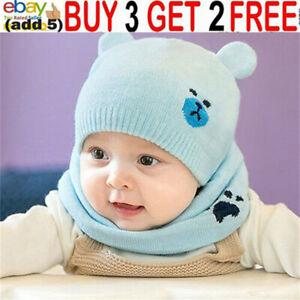 Newborn Toddler Kids Baby Boy Girls Winter Warm Hat Knit Beanie Cap Scarf Sbg
