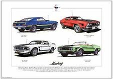 Ford Mustang 1969-73 - Fine Art Print A3 Tamaño-mach 1 Convertible jefe 302 351