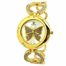 MONTRE FEMME OR DORE PAPILLON BUTTERFLY ROSE STRASS MAILLON GIRLY IDÉE CADEAU