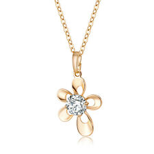 Fashion Women Crystal Flower Rhinestone Gold Plated Chain Pendant Necklace Gift