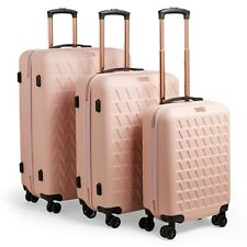 3pc Luggage Suitcase Set Travel Trolley Cabin Case Hard Shell 8 Wheels Rose Gold