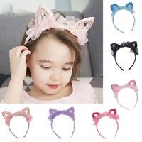 EE_ GIRLS CUTE CAT EARS GAUZE SEQUINS HEADBAND HAIRBAND HAIR HOOP ACCESSORIES NI