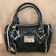 Betseyville black faux patent leather johnson heart bowling tote satchel