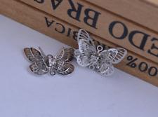 4 X   Filigree 3d  Rhinestone butterfly  , connector pendant,