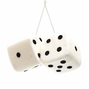 Chevy Ford Dodge Plymouth Chrysler GM White Fuzzy Novelty Dice For Car Mirror