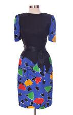 Vintage Henri Bendel for Lawrence Floral Short Sleeve Dress Knee Length Size 8