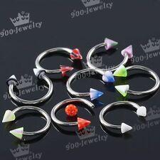 Awl Bead Bar Nose Nipple Ear Rings 20 pcS Stainless Steel Horseshoe Mixed 16G Uv