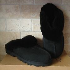 UGG COQUETTE BLACK SUEDE SHEEPSKIN SLIPPERS SHOES SIZE US 10 WOMENS