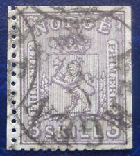 Norvège oblitéré, n°13, 3sk violet, 1867